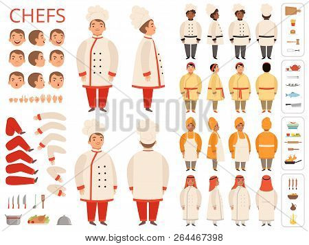 Cook National. Asian Black Arab Indian Chief Body Parts Various Poses And Kitchen Items Vector Const