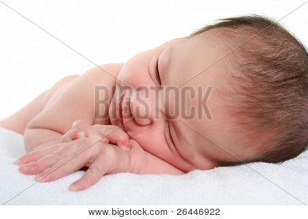 sleeping baby over white
