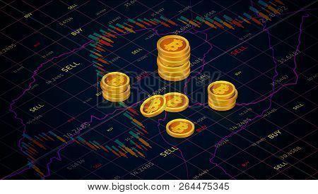 Bitcoin Cash On Background Of Stock Market Graph. Isometric Business Graph With Tending.candle Stick
