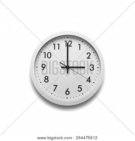 White Wall Clock Isolated On White Background. On The Clock, Three Oclock.
