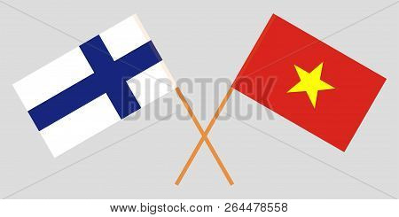 Socialist Republic Of Vietnam And Finland. The Vietnamese And Finnish Flags. Official Colors. Correc