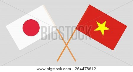 Socialist Republic Of Vietnam And Japan. The Vietnamese And Japanese Flags. Official Colors. Correct