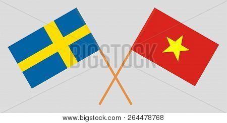 Socialist Republic Of Vietnam And Sweden. The Vietnamese And Swedish Flags. Official Colors. Correct