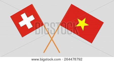 Socialist Republic Of Vietnam And Switzerland. The Vietnamese And Swiss Flags. Official Colors. Corr