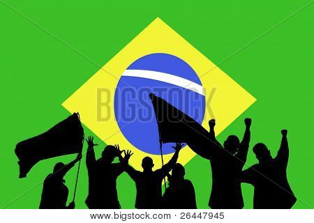 Silhouette from some sport fans in front of the flag from brazil