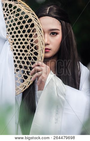 Close Up Portrait Beautiful Chinese Woman White Dress Traditional, Beautiful And Belligerent Face; A