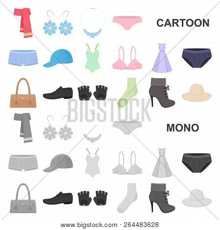 Clothes And Accessories Cartoon Icons In Set Collection For Design. Shoes And Decoration Vector Symb