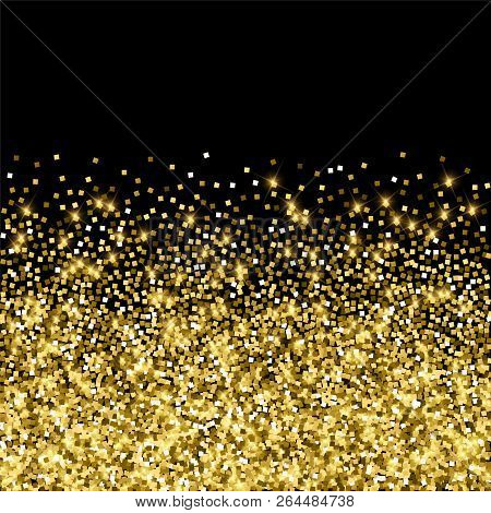 Sparkling Gold Luxury Sparkling Confetti. Scattered Small Gold Particles On Black Background. Adorab