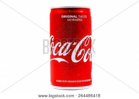 Bangkok, Thailand - October 22, 2018: Coca-cola Logo Printed On Aluminium Cans On White Background.