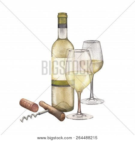 Two Watercolor Glasses Of White Wine, Bottle, Cork And Corkscrew