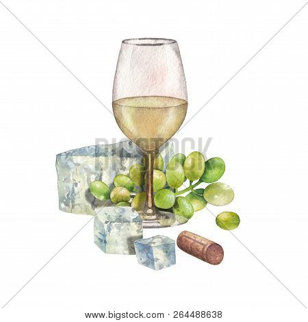 Watercolor Glass Of White Wine Decorated With Cheese, Grapes And Cork