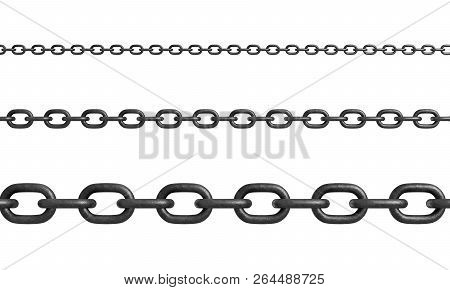 3d Rendering Of Three Horizontally Placed Metal Chains Of Different Size With Strong Links.