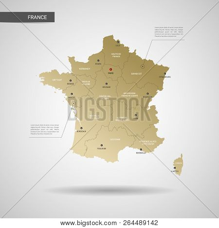 Stylized Vector France Map.  Infographic 3d Gold Map Illustration With Cities, Borders, Capital, Adm