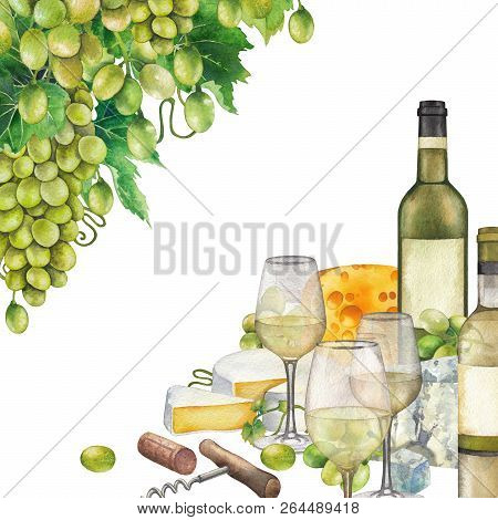 Watercolor Glasses Of White Wine, Bottles, White Grapes And Cheese.