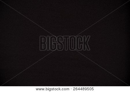 Close Up Black Cloth Fabric Texture Canvas Material Which Use For Decorative Background Template.