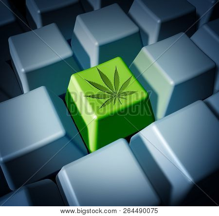 Cannabis Online Purchase Of Legal Marijuana Through E Commerce And Internet Weed Sales Concept As A