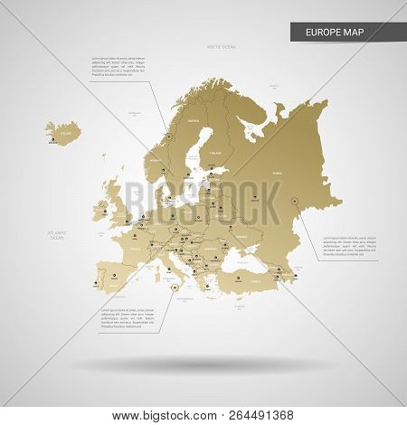 Stylized Vector Europe Map.  Infographic 3d Gold Map Illustration With Cities, Borders, Capital, Adm