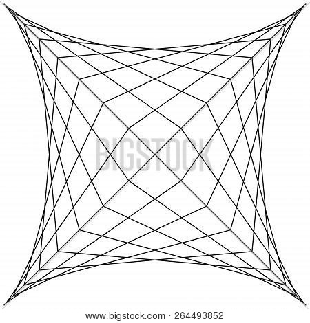 Square Spider Web, Grid Trap, Vector Illustration Of Net Trap