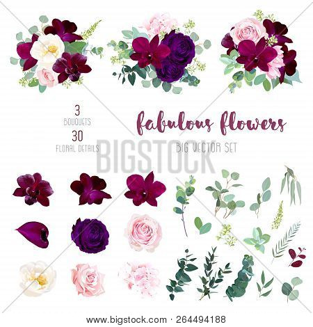 Purple Garden Rose, Burgundy Red Orchid, Pink And Yellow Rose, Hydrangea, Marsala Anthurium, Seeded
