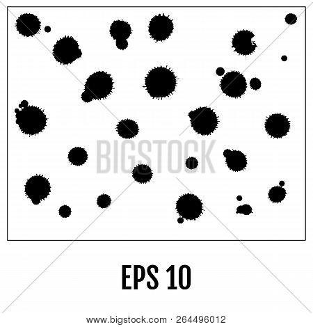 Splatter Set. Black Splatters Isolated On White. Vector Illustra
