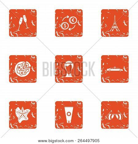 Exchange Of Currency Icons Set. Grunge Set Of 9 Exchange Of Currency Vector Icons For Web Isolated O