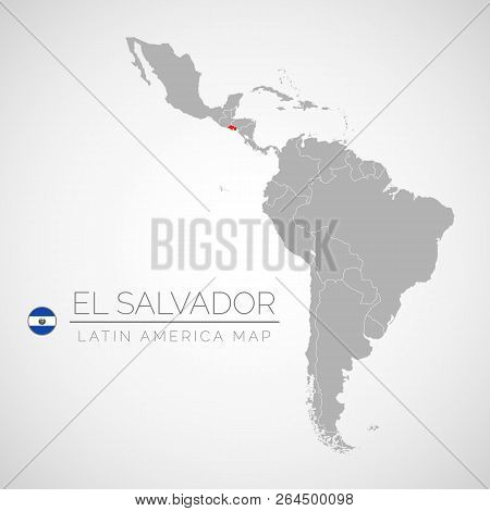 Map Of Latin America With The Identication Of El Salvador. Map Of El Salvador. Political Map Of Amer
