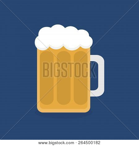 Beer In Glass Vector Graphic Illustration, Flat Icon, Isolated On Dark Blue Background. Half-litre O
