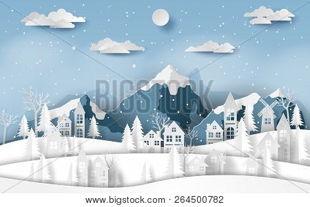 Paper Art, Craft Style Of Landscape Countryside Village At Snow Valley In Winter Season, Merry Chris