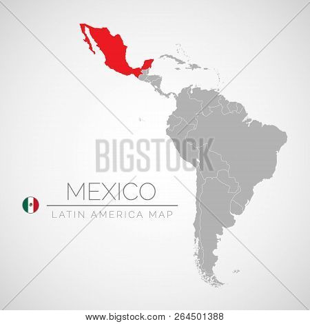 Map Of Latin America With The Identication Of Mexico. Map Of Mexico. Political Map Of America In Gra