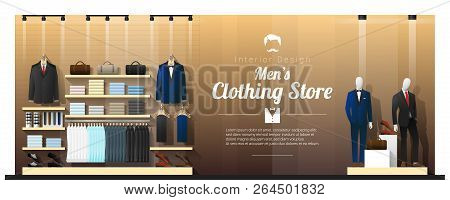 Interior Background Of Luxury Men Clothing Store , Vector , Illustration