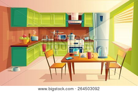 cartoon illustration of cozy modern kitchen with appliances, fridge, stove, toaster, microwave, kettle. Comfortable and clean dining-room, interior inside, concept with furniture and tableware poster
