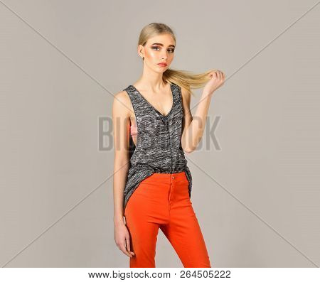 Woman Maintaining Fashion Blog. Beauty And Fashion Look Of Vogue Model. Fashion Portrait Of Woman. H
