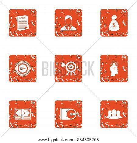 Task Icons Set. Grunge Set Of 9 Task Vector Icons For Web Isolated On White Background