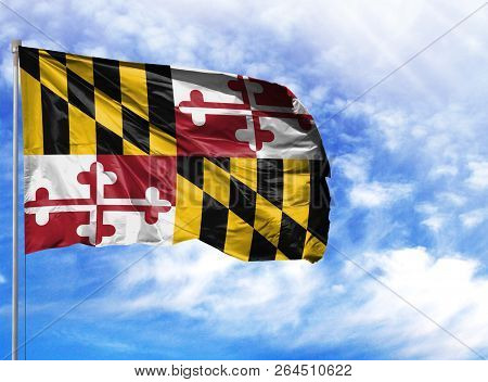Flag State Of Maryland On A Flagpole