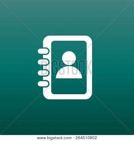 Address Book Icon. Contact Note Flat Vector Illustration On Gree