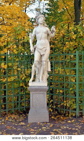 The Libyan Sibyl Statue At Autumn Evening In Saint Petersburg, Russia. Sibyl In The Ancient Culture