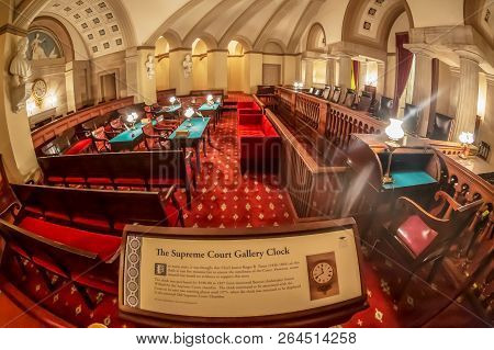 Washington Dc, Usa - September 4, 2018: The Old Supreme Court Gallery Clock Chamber Of The United St