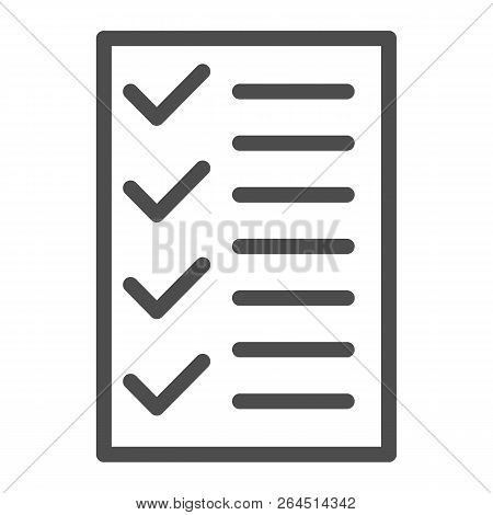 Test Line Icon. To Do List Vector Illustration Isolated On White. Notepad Outline Style Design, Desi