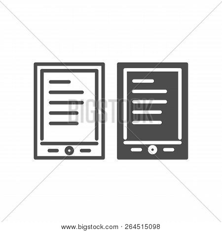 Tablet Ereader Line And Glyph Icon. Digital Tablet With Text Vector Illustration Isolated On White.