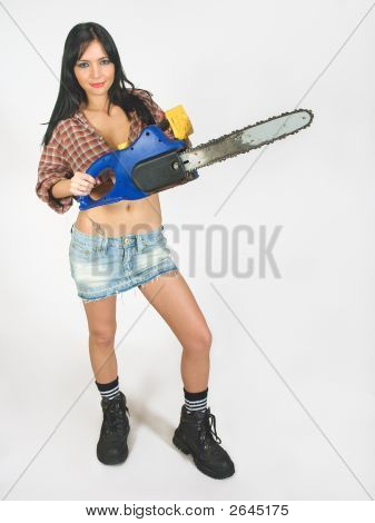 Girl And Chain Saw