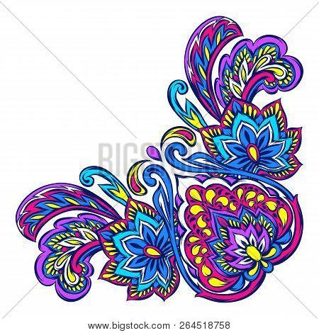 Indian Ethnic Decorative Element. Ethnic Folk Ornament. Hand Drawn Lotus Flower And Paisley.