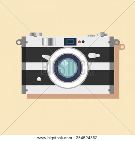 Old Film Camera. Vintage Photo. Stock Flat Vector Illustration.