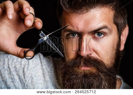 Barber Scissors, Barber Shop. Brutal Male, Hipster With Moustache. Male In Barbershop, Haircut, Shav