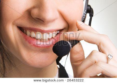Young beautiful woman talking online