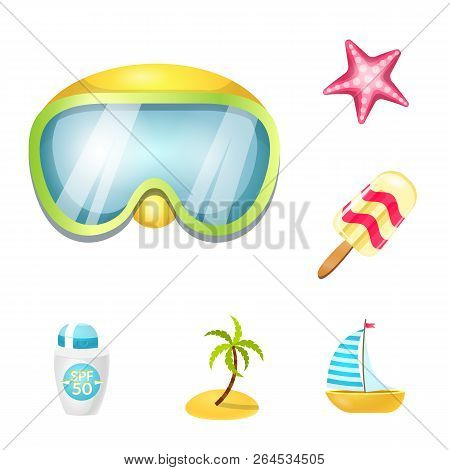 Vector Illustration Of Equipment And Swimming Symbol. Collection Of Equipment And Activity Vector Ic