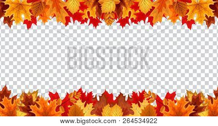 Autumn Leaves  Border Frame With Space Text On Transparent Background. Can Be Used For Thanksgiving,