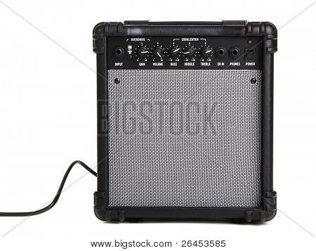 Electric guitar amplifier, white background poster