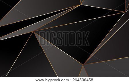 Black And Grey Premium Background With Luxury Polygonal Pattern And Gold Triangle Lines. Low Poly Gr