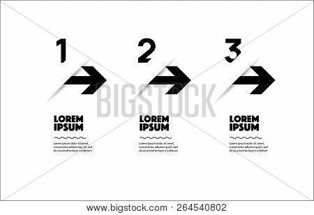 Thin Line Design With Numbers 3 Options Or Steps.