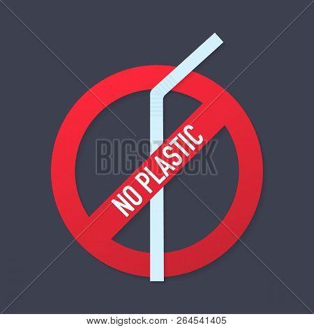 No Plastic. Vector Icon Prohibitive Sign Of Environmental Themes. Vector Stock Illustration.
